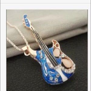 Betsey Johnson blue guitar necklace